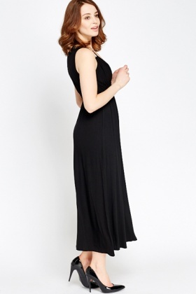 V-Neck Black Midi Dress