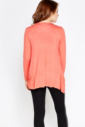 Coral Light Weight Open Cardigan