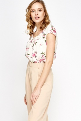 Pleated Neck Floral Top