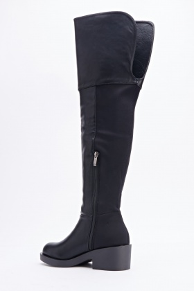 Contrast Faux Leather Over Knee Boots
