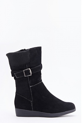 Contrasted Suedette Buckle Side Boots
