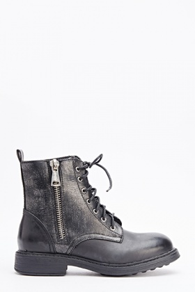 Distressed Black Boots