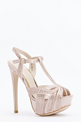 Encrusted High Strappy Heels