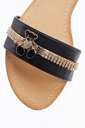 Encrusted Teddy Bear Sandal