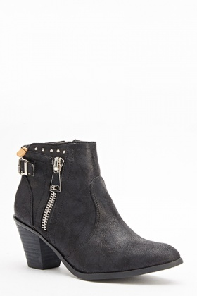 Zip Side Black Ankle Boots
