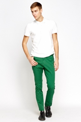 Cotton Slim Leg Belted Trousers