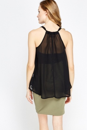 Black A-Line Lace Overlay Top