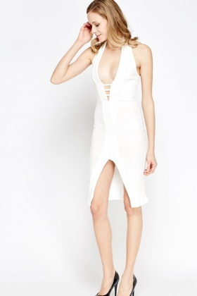 Cut Out Cream Halter Neck Dress