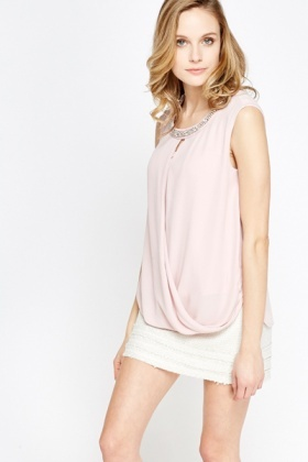 Light Pink Wrapped Front Top
