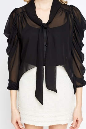 Ruched Sleeve Drop Back Blouse