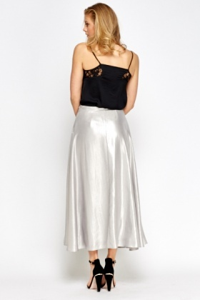 Silver Metallic Maxi Skirt