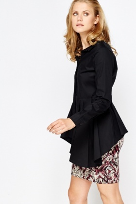 Black Pleated Side Shirt