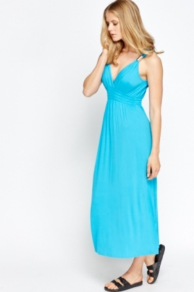 Metallic Strap Blue Dress