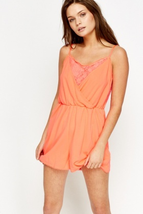 Lace Insert Front Playsuit