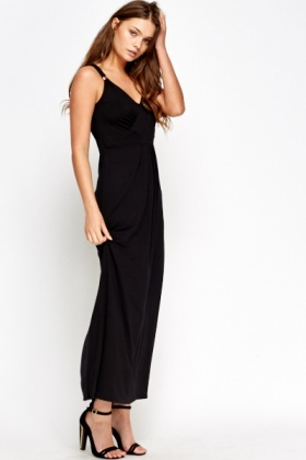Pleated Black Maxi Dress