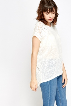 Burn Out Print Dip Hem Top