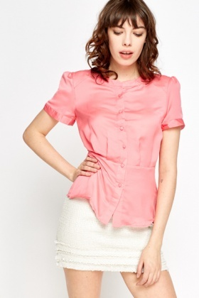 Collarless Pink Shirt