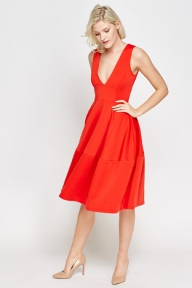 Deep V-Neck Red Skater Dress - Just £5
