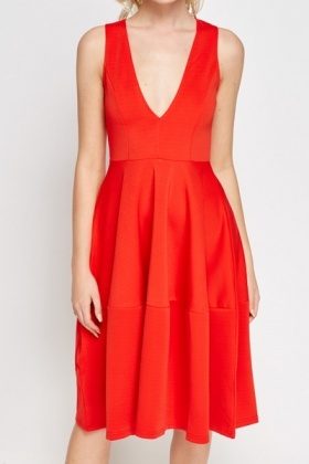 Deep V-Neck Red Skater Dress