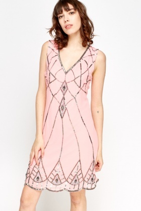 Encrusted Pattern Front Dress