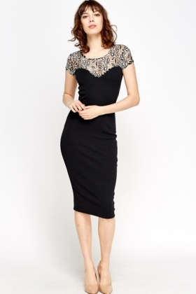 Lace Shoulder Bodycon Midi Dress