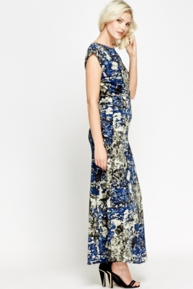 Mix Printed Dark Blue Maxi Dress