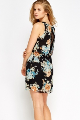 Sleeveless Overlay Floral Dress
