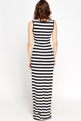 V-Neck Striped Black Maxi Dress