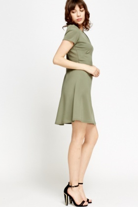 Pleated Neck Olive Dress