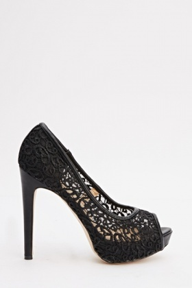 Black Lace Peep Toe Heels