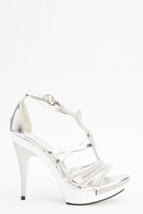 Encrusted Stripe Heeled Sandals