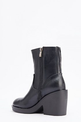Faux Leather Block Heel Boots