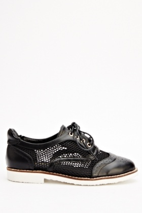 Lace Up Mesh Insert Brogue Shoes