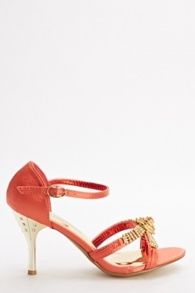 Sateen Embellished Heeled Sandals