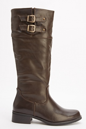 Twin Buckle Faux Leather Boots