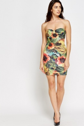 Bandeau Printed Mini Dress