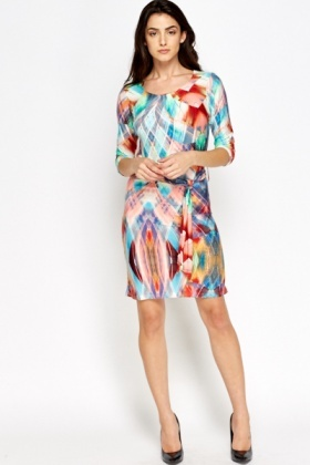 Geo Multi Tie Up Dress