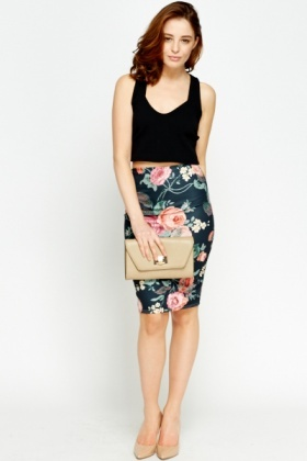 Black Floral Bodycon Skirt
