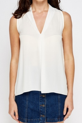 V-Neck Cream Top