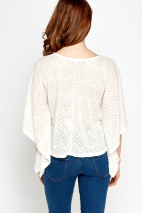 Zig Zag Perforated Batwing Top