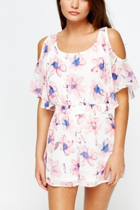 Cold Shoulder Floral Playsuit