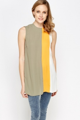 Colour Block Front Shell Top