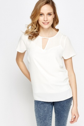 Keyhole Cream Top