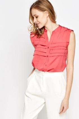 Pleated Front Sleeveless Blouse