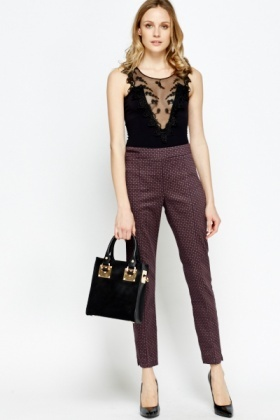 Purple Printed Tapered Trousers