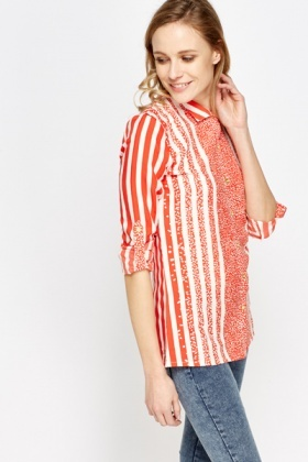Red Mix Print Blouse