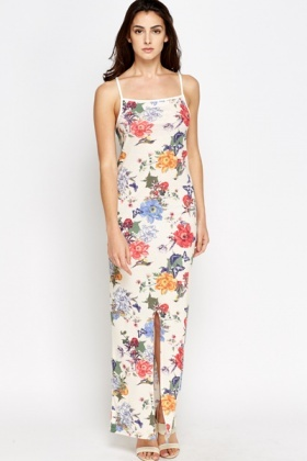 Cream Flower Front Slit Maxi Dress