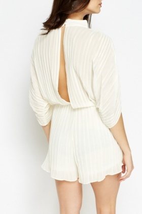 Cream Pleated Playsuit