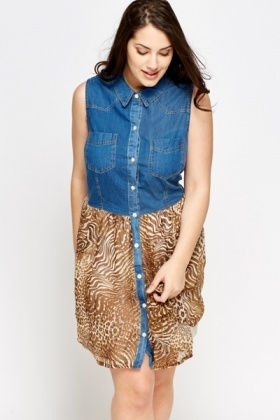 Denim Contrast Button Dress