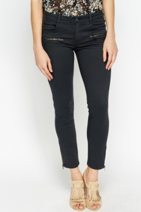 Zip Hem Casual Treggings
